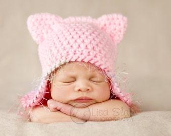 newborn hat photography prop kitty ear flap cap
