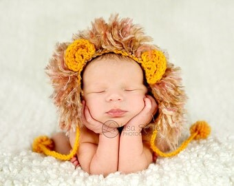 newborn baby lion hat photography prop boutique gift
