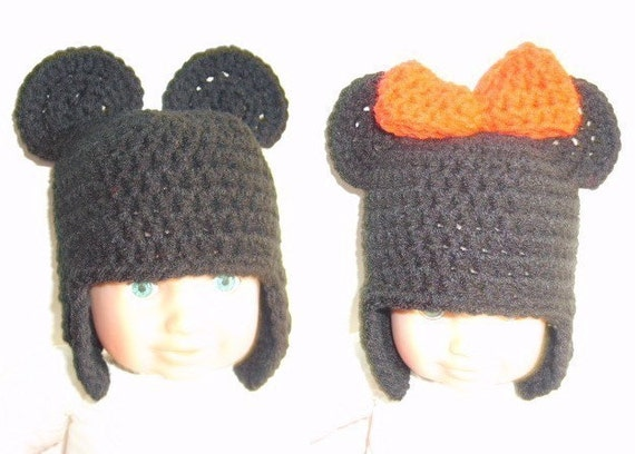 Free Minnie Mouse Crochet Hat Pattern With Ear Flaps : PDF crochet pattern...mouse earflap beanie cap children