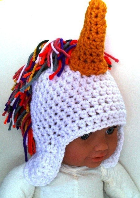 PDF crochet pattern...rainbow unicorn earflap cap, sizes babies to ...