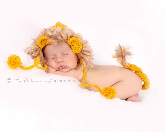 newborn photography prop lion hat and tail set