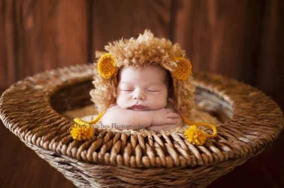 newborn baby lion hat photography prop animal hat