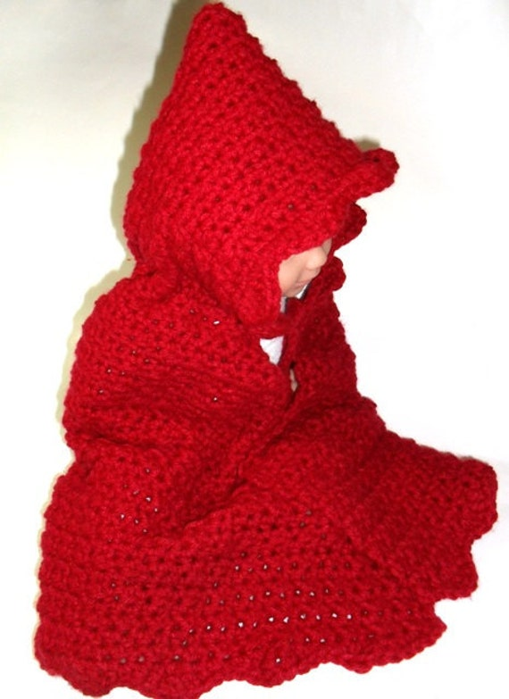 crochet pattern digital download red riding hood cape from WeeBeeUniquesByJul...