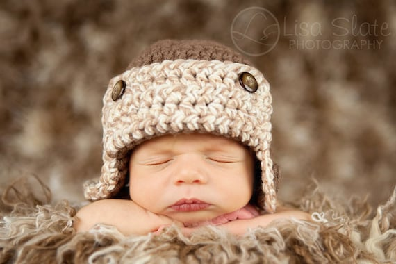 newborn baby photography prop aviator beanie hat