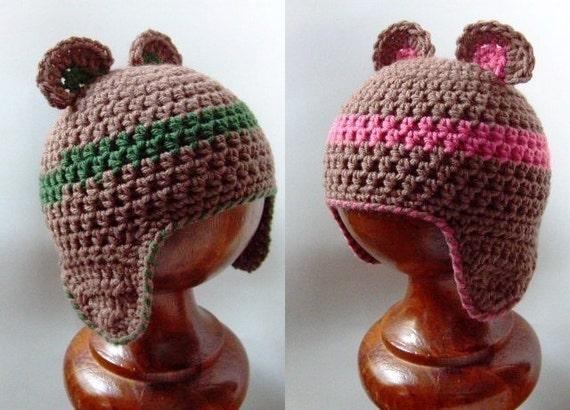 Crochet Baby Bear Beanie Pattern : PDF crochet pattern...baby bear beanie earflap cap sizes