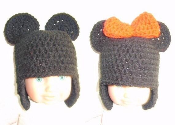 PDF crochet pattern...baby mouse earflap beanie cap sizes
