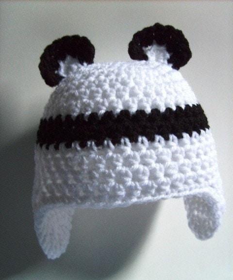 Panda Bear Earflap Hat Crochet Pattern : baby panda bear beanie earflap cap
