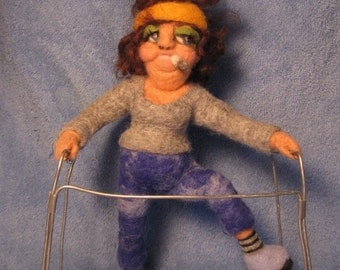 Spunky Senior Citizen- OOAK needle felted doll