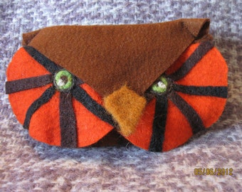Handmade felted owl glasses case