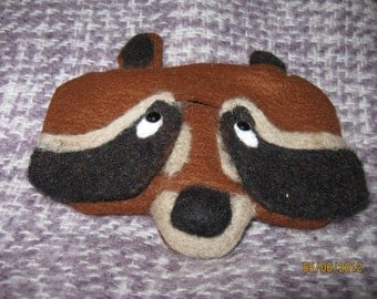 Handmade felted raccoon glasses case