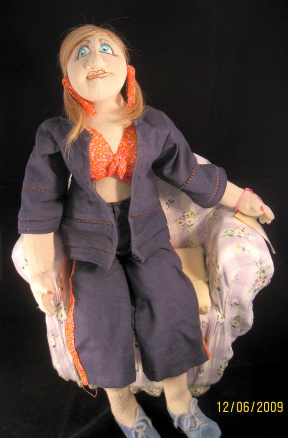 OOAK posable soft sculptured doll - Ready for Summer.