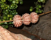 3 rhubarb pink Sea Urchin porcelain beads for necklace or jewelry creations - by Earth N Elements Pottery