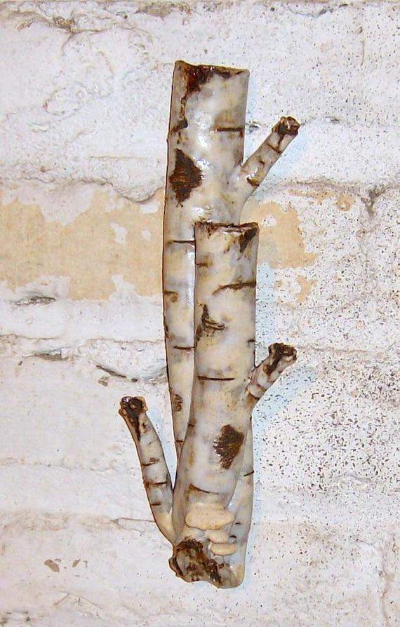 Rustic Birch Vase Stoneware Bark Look With Fungus Wall Pocket