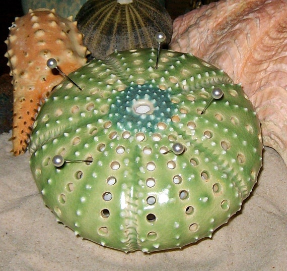 Lime Green Sea Urchin Pin Cushion figural sewing pincushion by Earth N Elements Pottery
