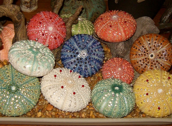 tiny coral pink ceramic sea urchin pin cushion - a handmade figural pincushion by Earth N Elements Pottery