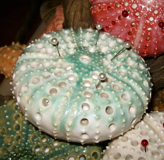 sea urchin pin cushion in mint green over white  - a handmade figural ceramic  pincushion by Earth N Elements Pottery