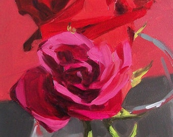 RED AND PINK original oil floral of red roses