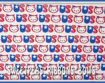 "sale SPRB 3/8"" 4th of July Patriotic Owls grosgrain ribbon 4 bows-5 yards-USA-Flag-Memorial Day"