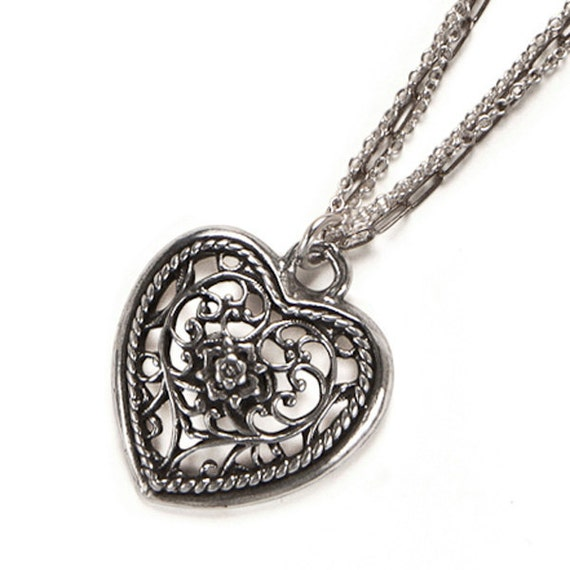 Filigree Heart Pendant on Triple Chain Necklace