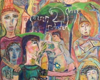 "Original painting (48"" x 48""), ""The Storytellers"""