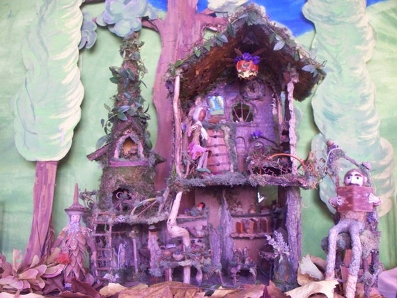 """Print, 8"""" x 10 color photo picture of our """"Elf's Forest Cottage"""", an amazing sculptural house made from nature, beautiful photo for framing"""