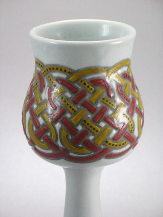 Red and Gold Celtic Knotwork Goblet