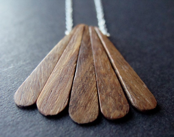 Little Wing Necklace with Wood and Sterling Silver