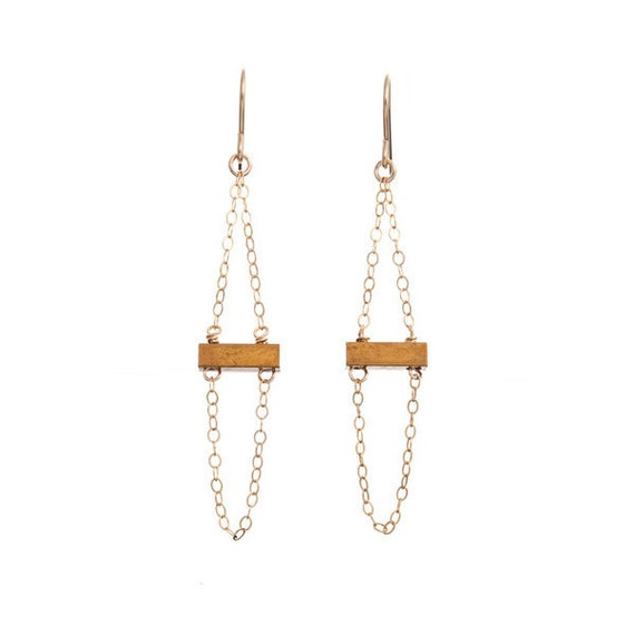 Small Fortune Brass and Gold Earrings