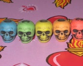 Plastic Skull Beads, Bright Multi Color with Antique Black, made in usa, fricken awesome, and no one else has em.