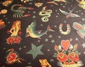 Reserved for Mimi Alexander Henry Tattoo Black Fabric 1 yard