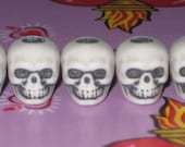 Plastic Skull Beads, White with Antique Black, MADE IN USA