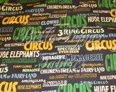 Windham fabrics Shelburne Circus Words Black Background 1 Yard