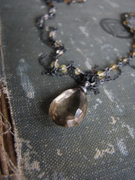 SALE...NEBULA Necklace.....Champagne Quartz and Oxidized Silver
