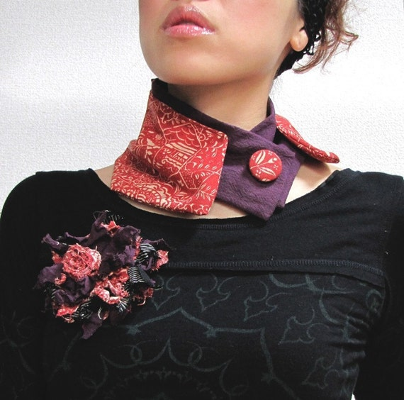 Kiss on Purple Neck Warmer and Corsage Set-Japanese Kimono Style Collar for Her-