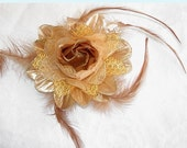 Gold and Brown Silk Rose  Hair clip / Hair band / Brooch