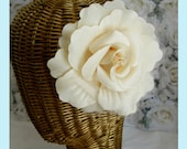 Dark Ivory  Rose Flower Hair Clips And Brooch