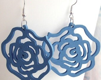 Wood Blue Roses Earrings Free Shipping