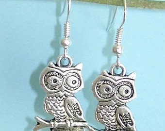 Silver Color Owl Earrings Free Shipping