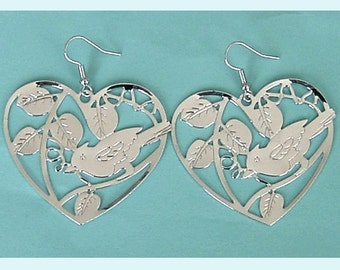 Silver Color Stemping Bird In A Heart Earrings