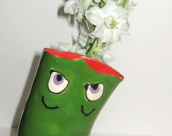 Funny Face Vase - Green