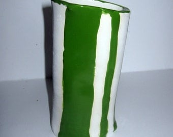 Green\/White Striped Stoneware Vase