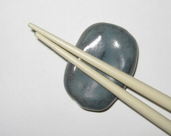 Blue Stone Chopstick Holder Rest Ceramic Stoneware (set of 2)