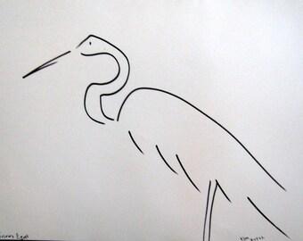 Snowy Egret Ink Drawing 11 in X 14 in