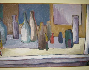 Bottle Still Life original oil painting 28 in X 40 in