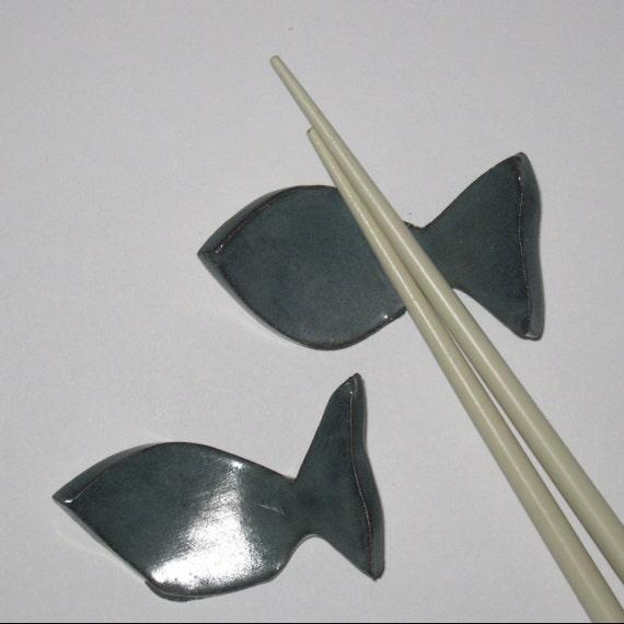 Blue Gray Fish Chopstick Rest Holder Ceramic Stoneware (set of 2)