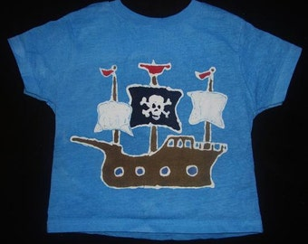 Kids Handmade Batik Pirate Ship T-shirt