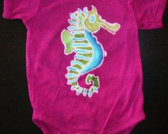 Infant Batik Seahorse in Raspberry Pink Bodysuit