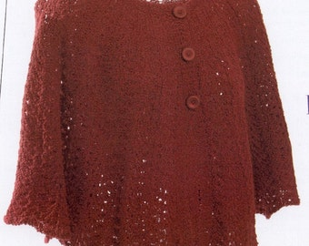 Chrysanthemum Cape  knitting pattern - PDF file