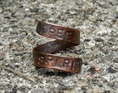 Rustic Copper Open Wrap Ring - Personalized Spiral Ring