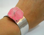 NEON PINK Crystal Cuff that Glows in the Dark